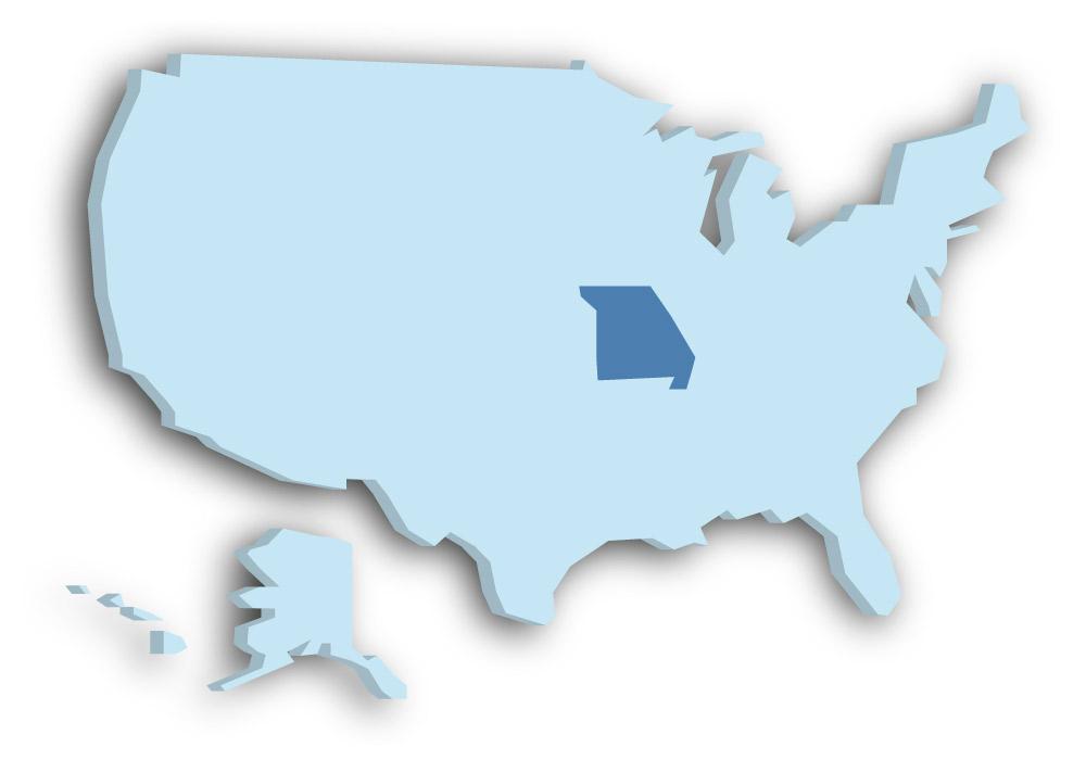 Staat Missouri - Das Bild zeigt die Lage in den USA