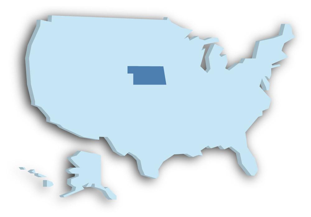 Staat Nebraska - Das Bild zeigt die Lage in den USA