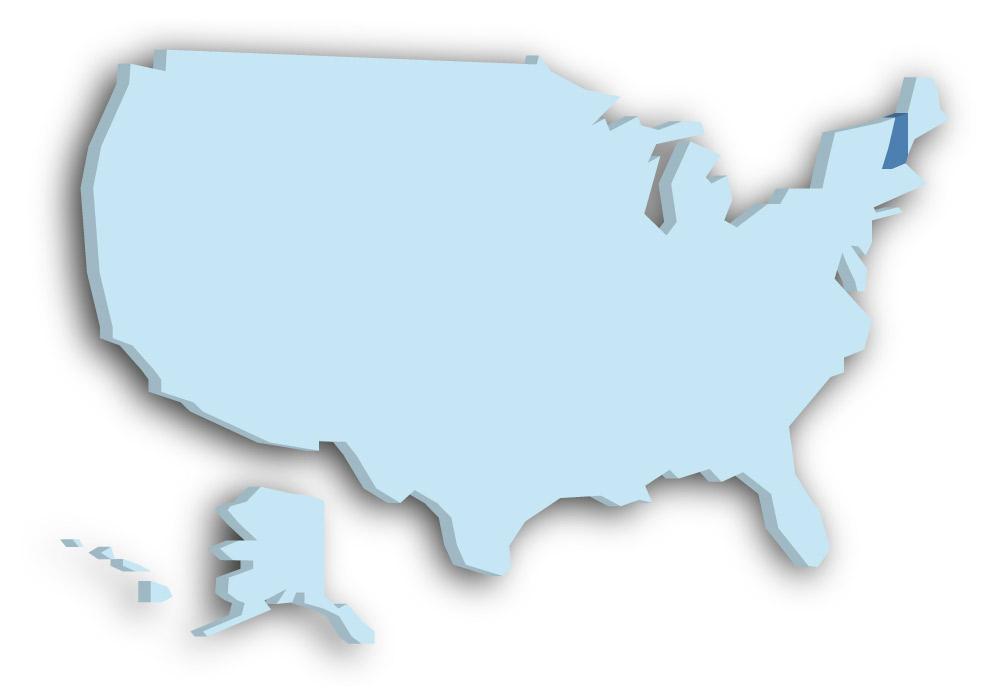 Staat New Hampshire - Das Bild zeigt die Lage in den USA