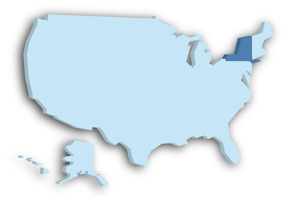 Staat New York - Das Bild zeigt die Lage in den USA