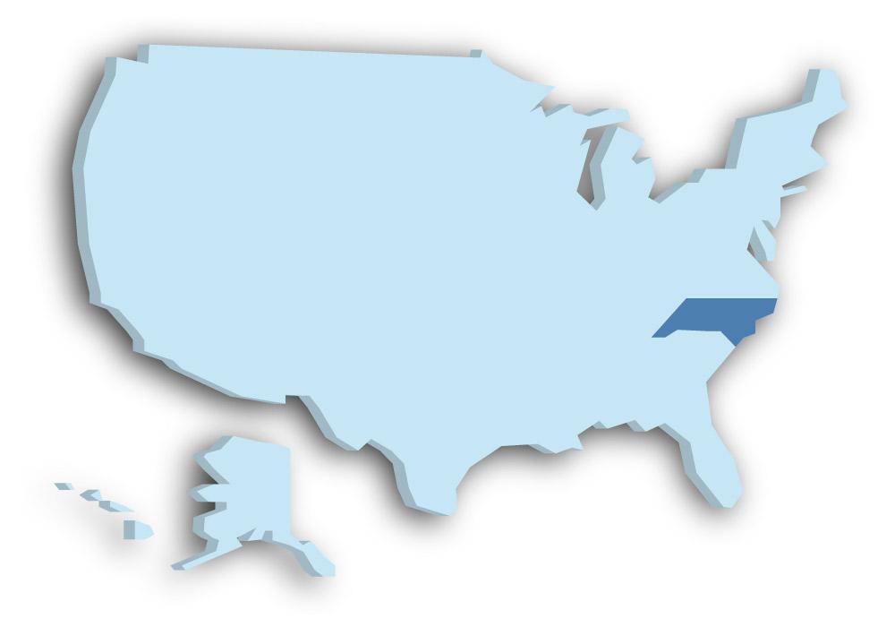Staat North Carolina - Das Bild zeigt die Lage in den USA