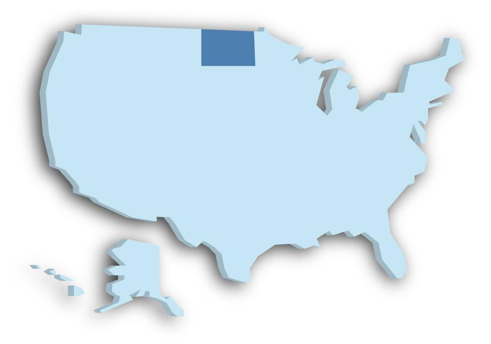 Staat North Dakota - Das Bild zeigt die Lage in den USA