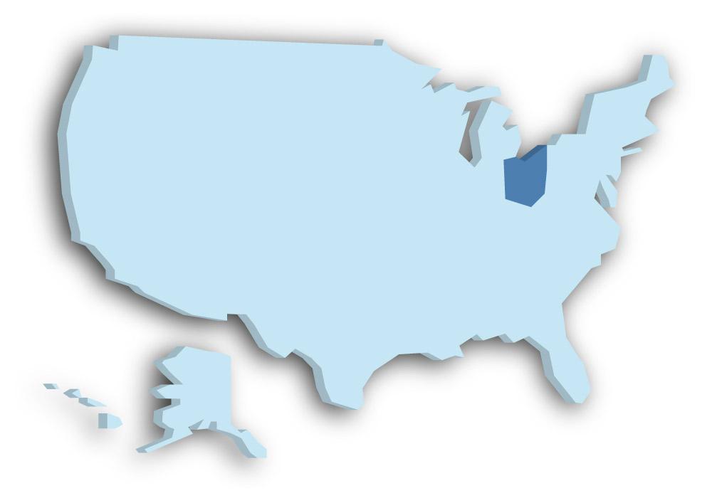 Staat Ohio - Das Bild zeigt die Lage in den USA