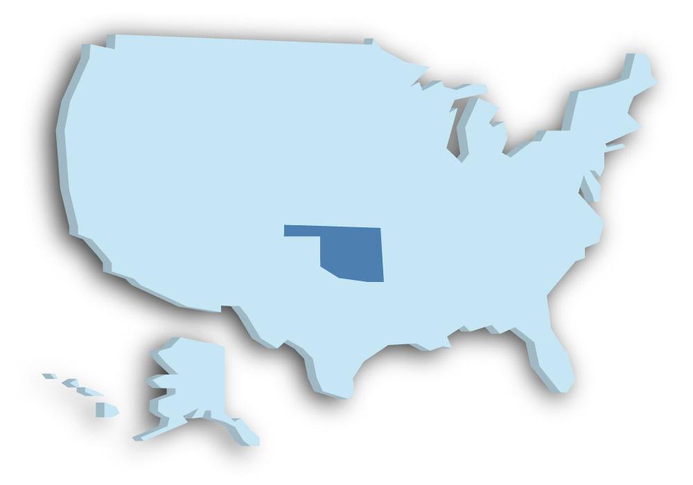 Staat Oklahoma - Das Bild zeigt die Lage in den USA