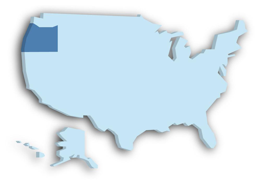 Staat Oregon - Das Bild zeigt die Lage in den USA