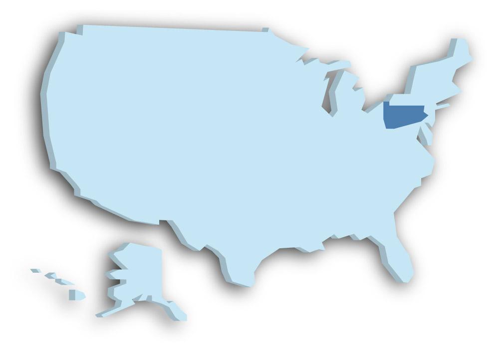 Staat Pennsylvania - Das Bild zeigt die Lage in den USA