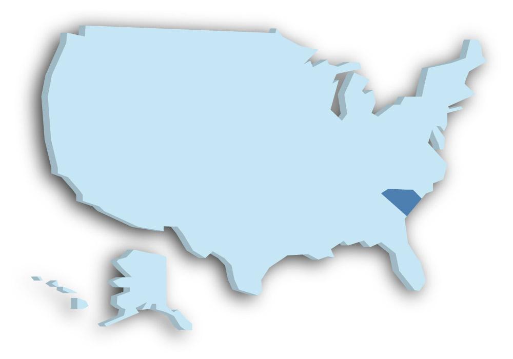 Staat South Carolina - Das Bild zeigt die Lage in den USA