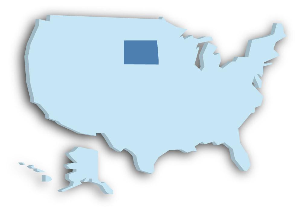 Staat South Dakota - Das Bild zeigt die Lage in den USA