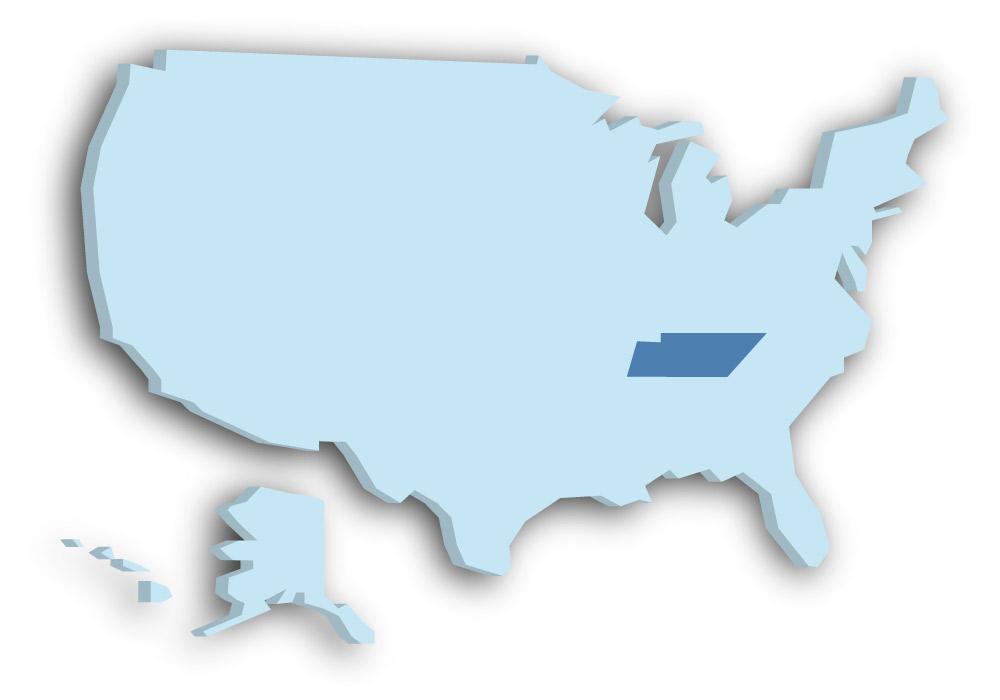 Staat Tennessee - Das Bild zeigt die Lage in den USA