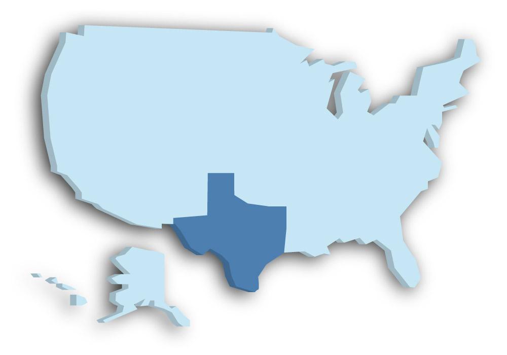 Staat Texas - Das Bild zeigt die Lage in den USA