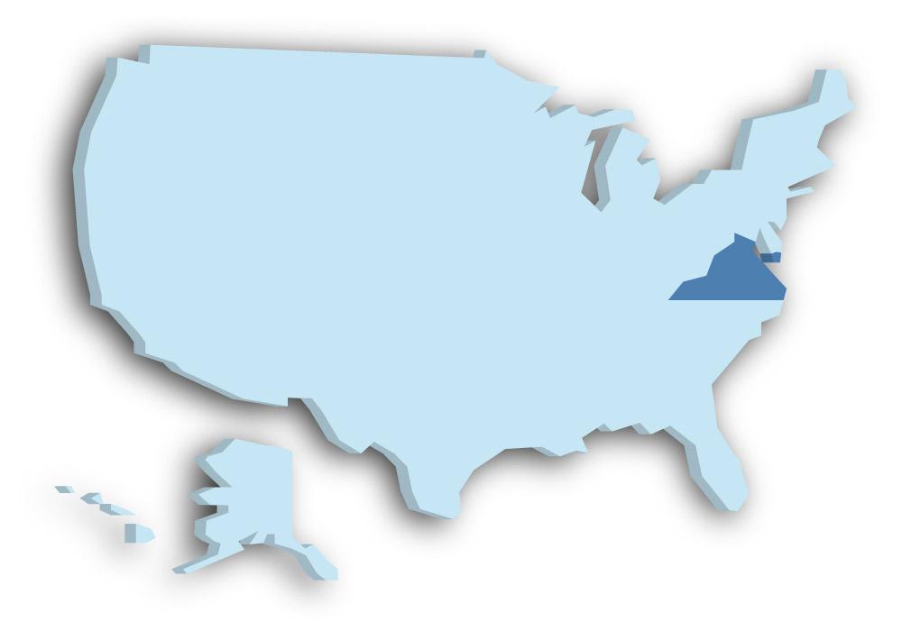 Staat Virginia - Das Bild zeigt die Lage in den USA