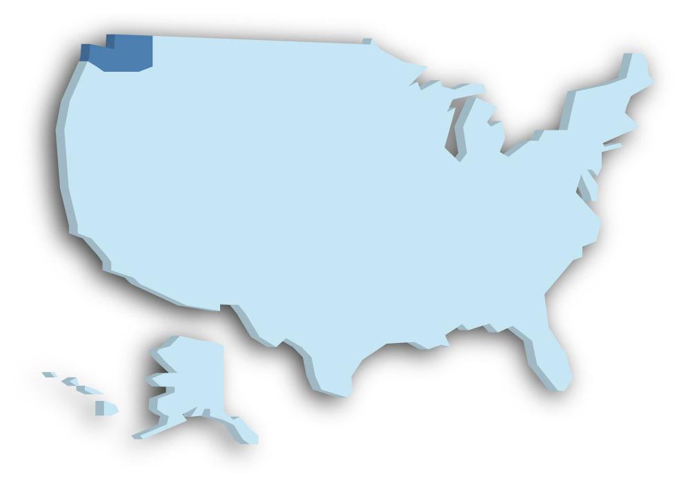 Staat Washington - Das Bild zeigt die Lage in den USA