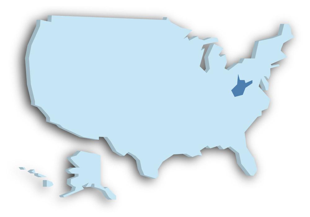 Staat West Virginia - Das Bild zeigt die Lage in den USA