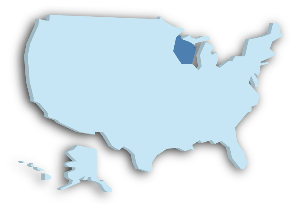 Staat Wisconsin - Das Bild zeigt die Lage in den USA
