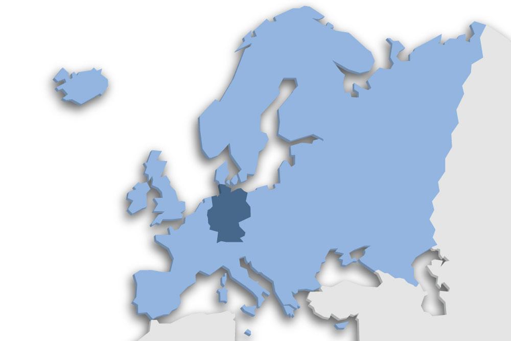Die Lage des Lands Deutschland in Europa