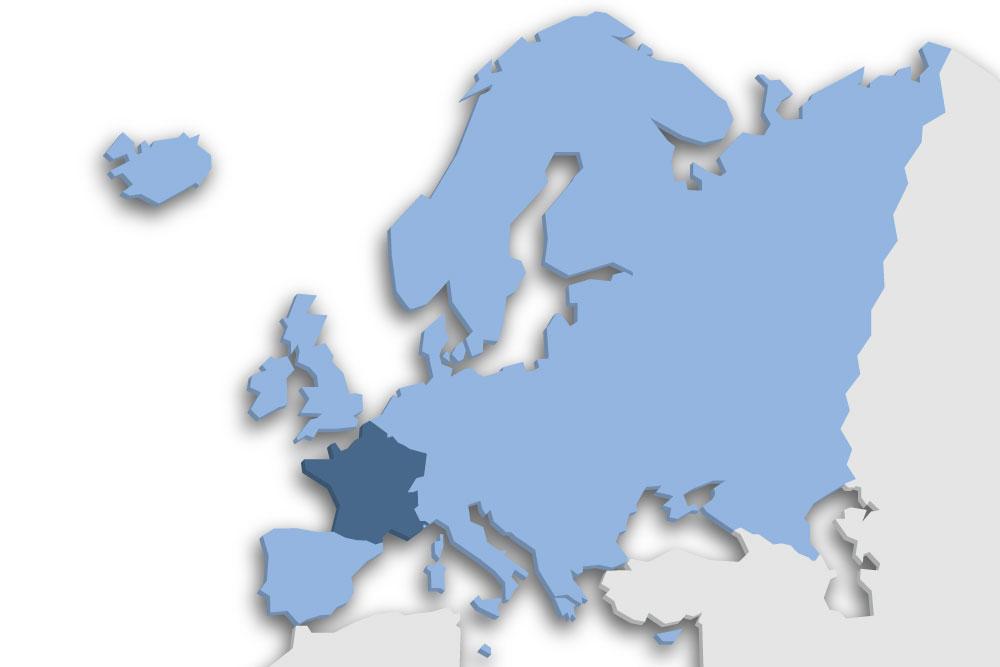 Die Lage des Lands Frankreich in Europa