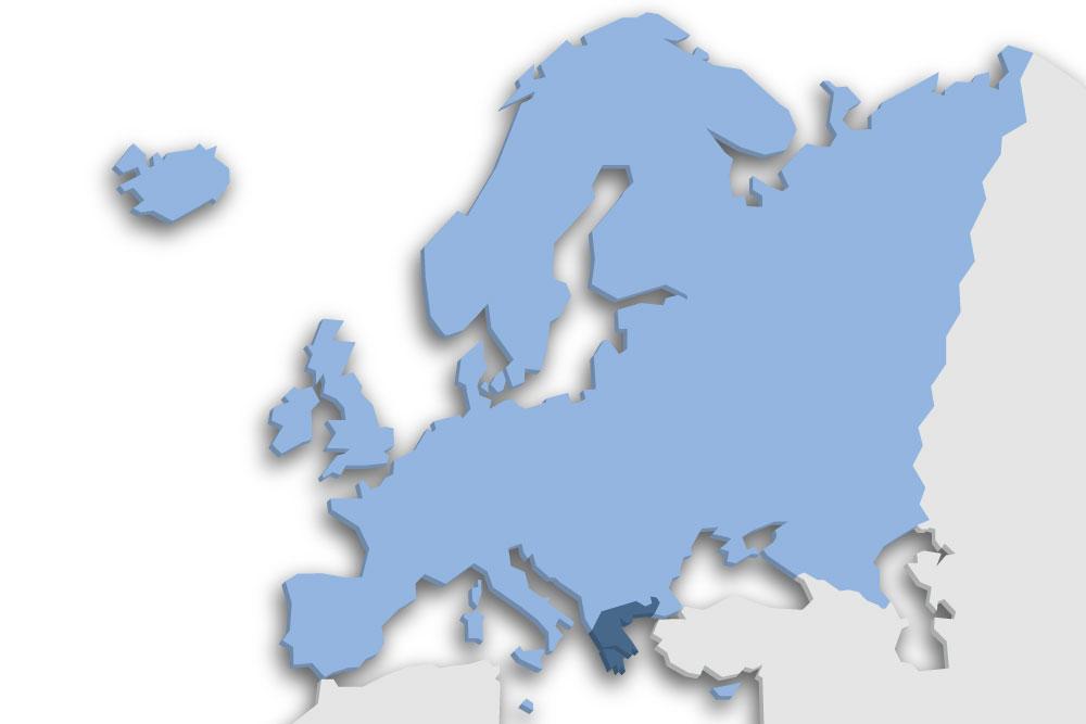 Die Lage des Lands Griechenland in Europa