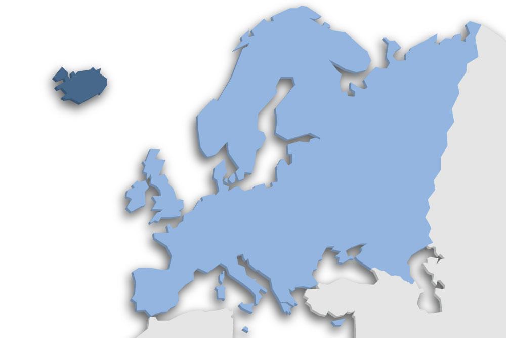 Die Lage des Lands Island in Europa