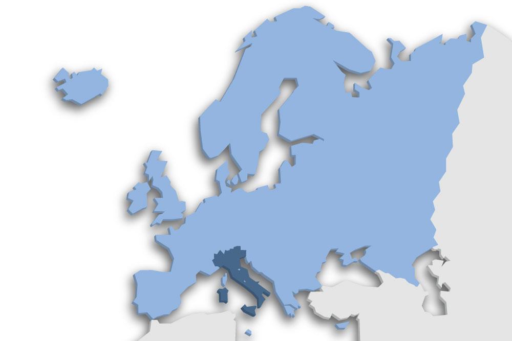 Die Lage des Lands Italien in Europa