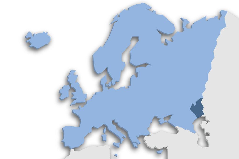 Die Lage des Lands Kasachstan in Europa