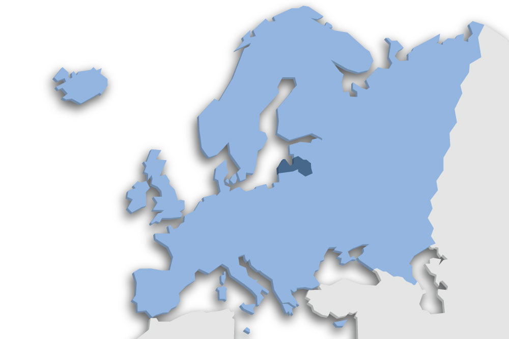 Die Lage des Lands Lettland in Europa