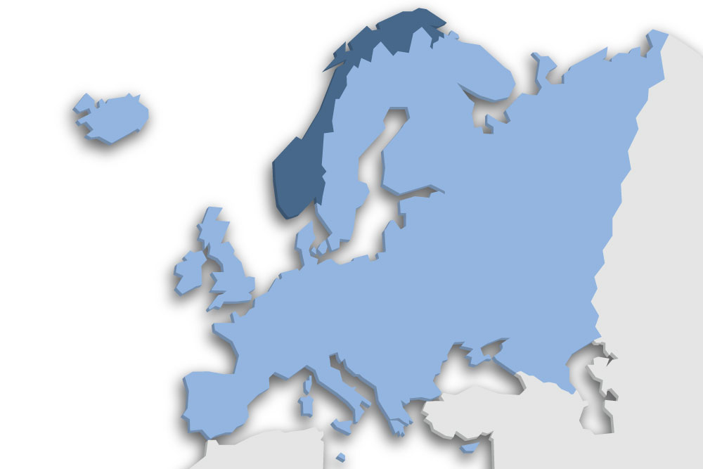 Die Lage des Lands Norwegen in Europa