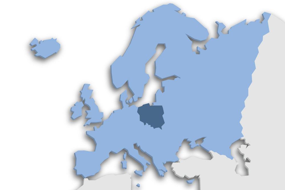 Die Lage des Lands Polen in Europa
