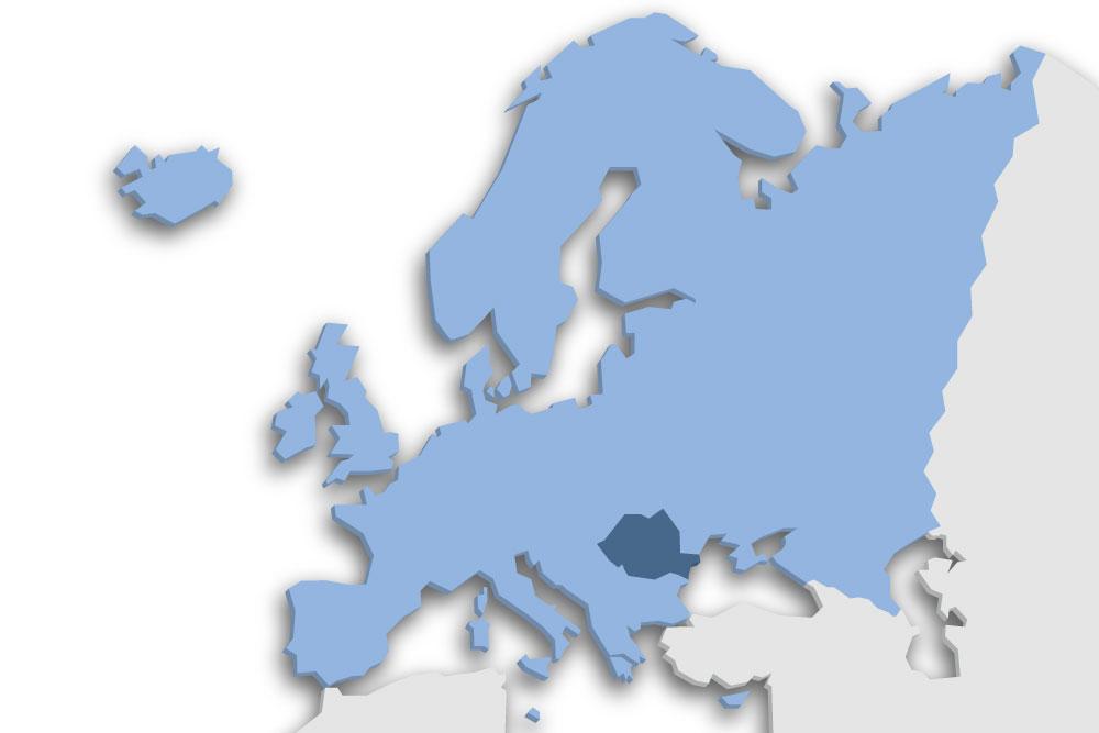 Die Lage des Lands Rumänien in Europa