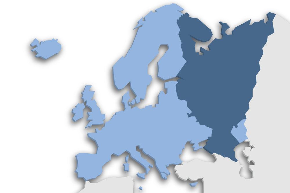 Die Lage des Lands Russland in Europa