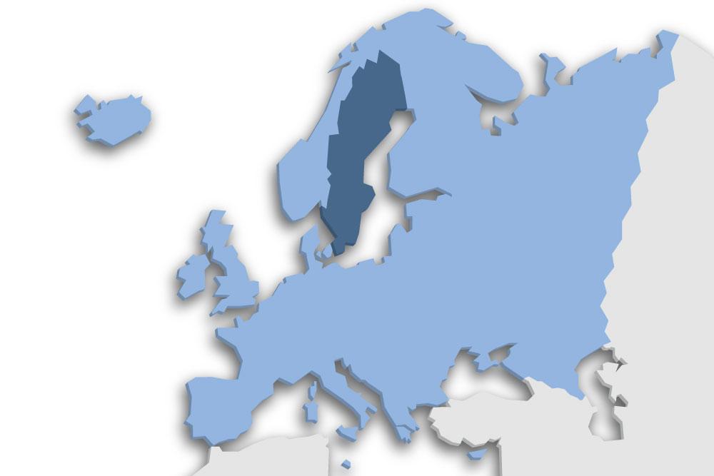 Die Lage des Lands Schweden in Europa
