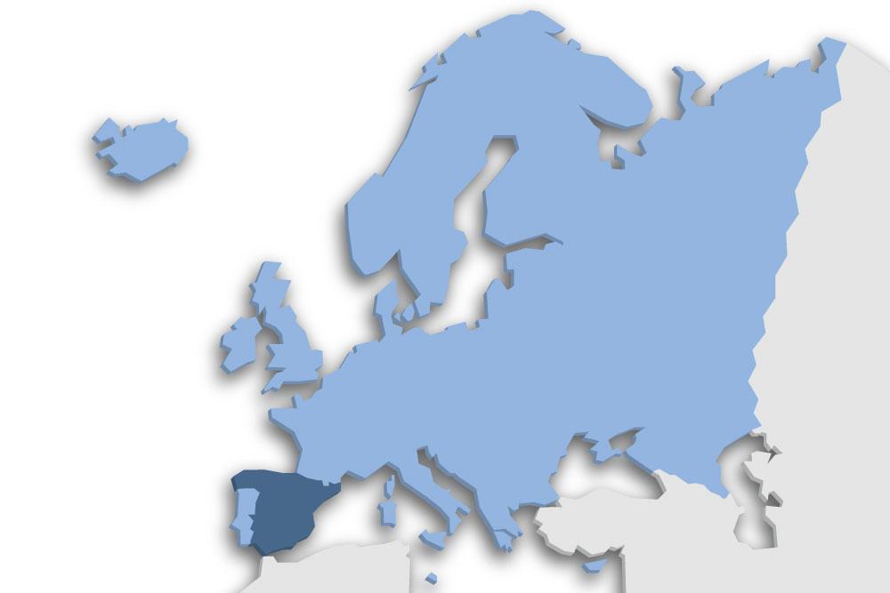 Die Lage des Lands Spanien in Europa