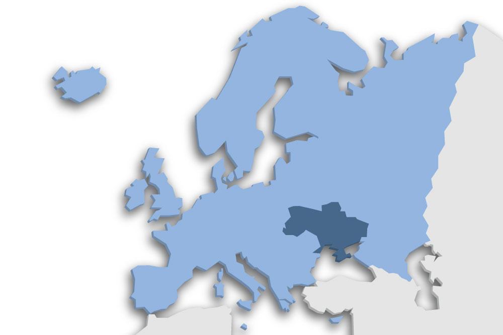 Die Lage des Lands Ukraine in Europa