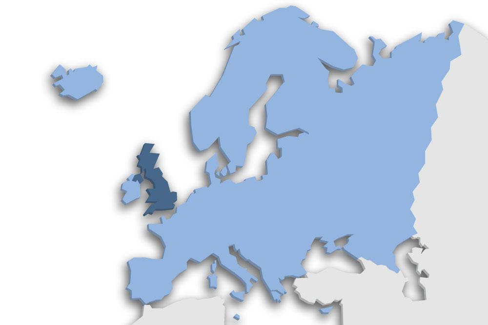 Die Lage des Lands Vereinigtes Königreich in Europa