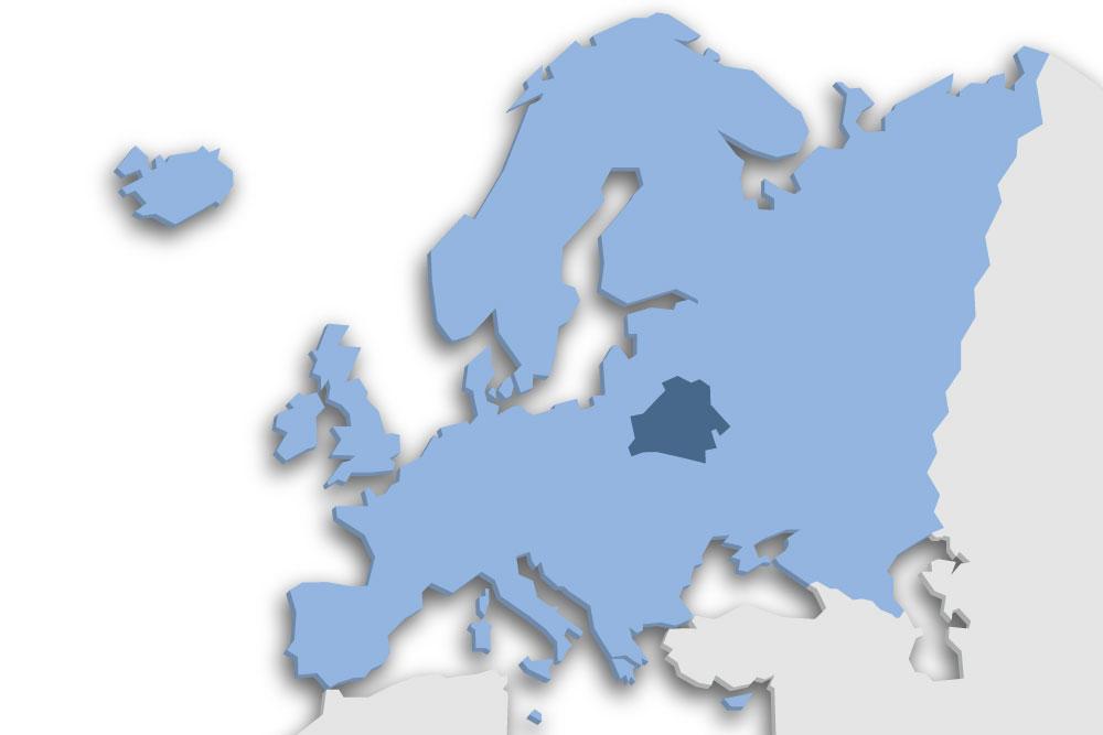 Die Lage des Lands Weißrussland in Europa